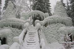 Ice Palace, Switzerland, Snow, Steps, Stairs