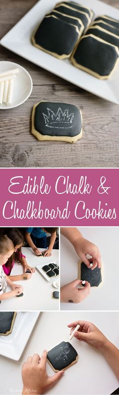 it is easy to make homemade chalkboard cookies and edible chalk and it's just as fun to play with them as to eat them, a great treat and snack for school or parties - full video tutorial