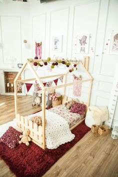Romantic vintage girls room interior ideas, shabby chic nursery ideas, floor bed with fence, toddler bed, children bed, house bed with fence, kids teepee, wood house, baby bed, Montessori toys tent bed, children bedroom bed house, nursery bed