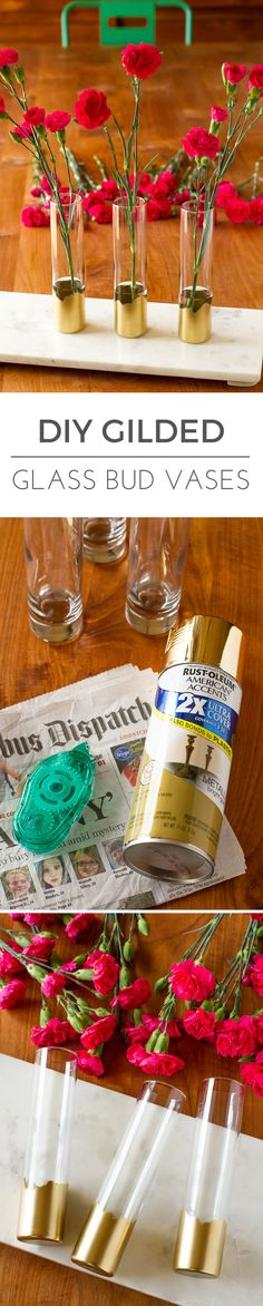 Gilded Gold Glass Bud Vases -- all this simple DIY vase idea requires is a little gold spray paint, removable adhesive and a couple of sheets of newspaper. Put them together and you get a lovely gilded look that looks fabulous on any clear glass vase! | v
