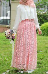 Princess skirt with lace design - Powder Modern Hijab Fashion, Islamic Fashion, Abaya Fashion, Muslim Fashion, Fashion Dresses, Hijab Dress Party, Hijab Style Dress, Stylish Dresses, Modest Dresses