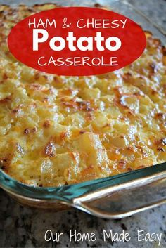 Ham and Cheesy Potato Casserole - Ham - Ideas of Ham - We usually serve ham at most holiday get togethers. And there is always lots leftover! Instead of eating reheated ham for several days in a row post holiday dinner we use some of the remaining ham Ham And Potato Casserole, Casserole Dishes, Casserole Recipes, Leftover Ham Casserole, Ham Dishes, Food Dishes, Side Dishes, Pork Recipes, Cooking Recipes