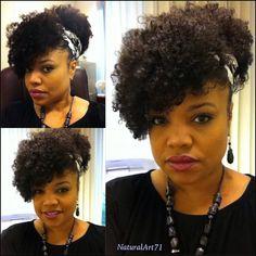 Puff w/off to the side bangs using Afro Kinky Curly/Kinky Curly hair by KinkyCurlyYaki.com!
