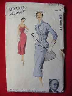 Uncut ADVANCE IMPORT Pattern #105 AN EMANUEL Spain Original Dress & Jacket