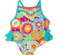 NWT Baby Girls Wippette One Piece SwimSuit Rashguard Sz 0-6 Months Whales