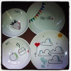 Sharpie plates u0026 bowls could do this with Lilly prints & Draw On a Plate and Make It Permanent! | Pinterest | Ceramic plates ...