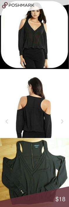 Guess Marciano Cold-Shoulder V-neck Blouse Chic and modern, this long-sleeve top is the ultimate look-making piece. Pointelle details and revealing shoulder cutouts instantly elevate your everyday style. Woven top. V-neck. Long sleeves with triple-barrel cuffs and shoulder cutouts. Pointelle detail at neckline and center back. Cinched hem. 100% Polyester. Machine wash Marciano Tops Blouses