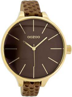 OOZOO Timepieces C6961 bruin/gold (45MM) horloge. Dit is een dames horloge met een quartz uurwerk. De kleur van de kast is goud en de kleur van het uurwerk is bruin. De kast is gemaakt van metaal en de band van het horloge van leer.  Wij zij...