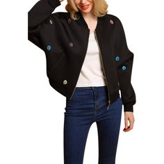 Yoins Black Fashion Embroidery Pattern Zipper Front Fastening Bomber... (€43) ❤ liked on Polyvore featuring outerwear, jackets, black, bomber style jacket, zip front jacket, long sleeve jacket, pattern jacket and patterned bomber jacket