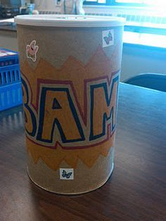 """BAM- spelling review game- so simple! Kids pull cards, if they spell the word they get to keep it, if they pull a """"swipe"""" card they can take another's card, or if they pull """"bam!"""" then all cards go back in the tub! Person with the most cards at the end of the game wins!"""