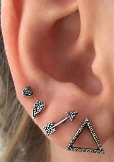 Cute Ear Piercing Ideas for Teenagers Multiple Stud Earrings Cartilage Ear Lobe Helix Tragus Conch - www.MyBodiArt.com