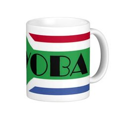 Ayoba White Coffee Mugs, Classic White, South Africa, Flag, African, Gifts, Presents, White Coffee Cups, Science