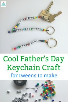 Make a personalized gift for Dad this Father's Day. A cool beaded Father's Day keychain made by the kiddos. perfect fathers day gift, diy father birthday gifts, dad bday gift from kids Diy Birthday Gifts For Dad, Diy Gifts For Dad, Gifts For Him, Birthday Presents, Card Birthday, Kids Gifts, Diy Father's Day Crafts, Father's Day Diy, Dad Crafts