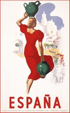 Espana by Morell 1941 Spain - Beautiful Vintage Poster Reproductions. This vertical Spanish travel poster features a woman in a red dress walking away towards a beach with a jug in her hand and one on her head. Giclee Advertising Print. Classic Posters