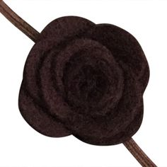 FUN 3-D Felt Rose Skinny Elastic Headband. Perfect for newborn and baby, but can be sized for older girls. Brown