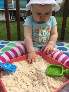Taste Safe Cloud Dough for Baby Sensory Play These days, at 10 months old, Baby Bear is quite the busy body. Always wanting to get into things she's not supposed to. Especially the dirt when we are outside! We've already ruined a few pairs of pants in the Baby Sensory Play, Sensory Activities, Baby Play, Infant Activities, Activities For Kids, 10 Month Old Baby Activities, Indoor Activities, Sensory Play For Babies, 10 Month Old Baby Food