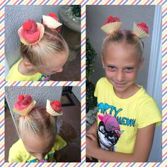 Cupcake hair for crazy hair day!