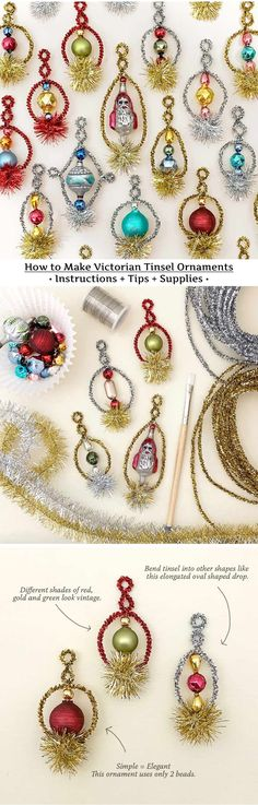 Christmas Ornament Craft Tutorial: How to make Victorian style tinsel Christmas ornaments with instructions, tips ans craft supplies. Rustic Christmas Ornaments, Vintage Ornaments, Vintage Christmas, Christmas Wreaths, Diy Ornaments, Christmas Things, Christmas 2019, Xmas, Fall Crafts