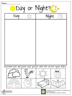 Day And Night Worksheet – Preschoolplanet Kindergarten Math Worksheets, Science Worksheets, Kindergarten Science, Worksheets For Kids, Kindergarten Literacy Stations, Printable Worksheets, Free Printable, Kids Learning Activities, Day For Night
