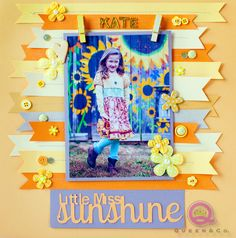 Sunshine scrapbook layout, love the embellishments and yellow color scheme!