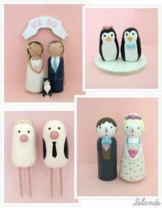 SUPER cute cake toppers from Islands on Etsy....i should totally do the penguins!!!!!!!!!!