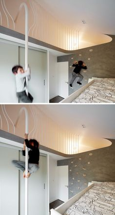 This kids bedroom features a rock climbing wall that gives access to a 'secret space' in the eaves, and a fireman pole to get back down.