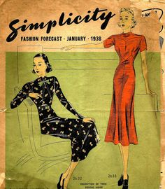 1930s Simplicity Fashion Forecast for January 1938 Frock Styles and Pattern Catalog  -  PDF 1938 a di eStitches su Etsy https://www.etsy.com/it/listing/107507889/1930s-simplicity-fashion-forecast-for