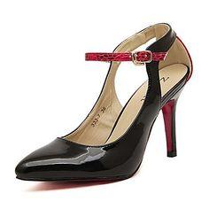KADIN - Topuklar/Sivri Uçlu - İnce Topuk - Suni Deri Pompalar / Topuklar ( Siyah/Beyaz ) – USD $ 22.99