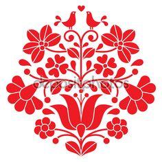 Hungarian Embroidery Patterns Kalocsai black embroidery - Hungarian floral folk pattern with birds - stock vector - Hungarian Tattoo, Hungarian Embroidery, Folk Embroidery, Types Of Embroidery, Brazilian Embroidery, Learn Embroidery, Indian Embroidery, Chain Stitch Embroidery, Embroidery Stitches