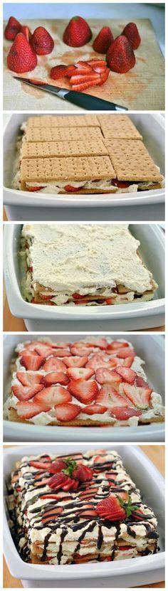 No-Bake Strawberry Icebox Cake. I'm gonna make this a low fat sugar free desert.