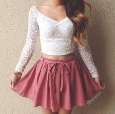 Dress crop tops skirt shirt lace cute t-shirt sweet white t-shirt pink Fashion Mode, Cute Fashion, Teen Fashion, Fashion Looks, Fashion Outfits, Fashion Stores, Skirt Fashion, Style Fashion, Fashion Ideas