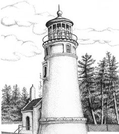 Umpqua River Lighthouse Drawing  - Umpqua River Lighthouse Fine Art Print