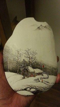 A beautiful landscape painted rock!