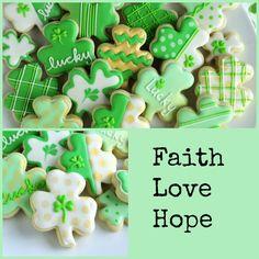 Lucky Shamrock Cookies by Haniela's Irish Cookies, St Patrick's Day Cookies, Iced Sugar Cookies, Fancy Cookies, Cut Out Cookies, Easter Cookies, Royal Icing Cookies, Holiday Cookies, Cupcake Cookies