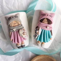 Polymer Clay Crafts, Diy Clay, Clay Mugs, Cute Cups, Fondant, Cold Porcelain Ornaments, Personalized Mugs, Toddler Girls, Polymer Clay Figures