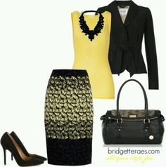 3. Church: I think that this would be a very appropriate for church. I love black and yellow put together and the skirt is the perfect length to wear to church. It is fashionable yet conservative. Absolutely