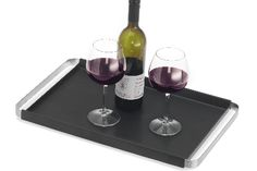 Blomus Pegos Tray- Blomus Germany brushed stainless steel rectangular tray with slip resistant silicone layer; serves your drinks in style.