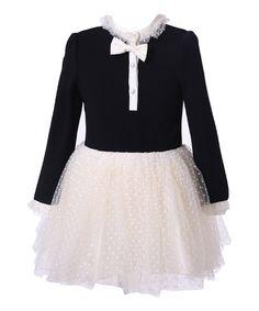 Another great find on #zulily! Black & Beige Peter Pan Collar Dress - Toddler & Girls #zulilyfinds