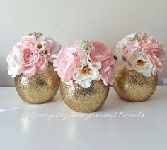 Wedding Centerpiece Bridal Shower Decorations Baby Shower Centerpiece Gold Wedding Decor Engagement Party Decor Wedding Decor Set of 3 Gold Wedding Centerpieces, Wedding Favors, Quince Centerpieces, Decor Wedding, Sweet 16 Centerpieces, Centerpieces For Baptism, Bridal Shower Centerpieces, Communion Centerpieces, Princess Centerpieces