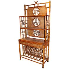 Maitland and Smith Faux Bamboo Wicker Wine Cabinet For Sale at 1stdibs