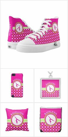 Gymnastics Pink & Green Polka-Dots Collection by Golly Girls - Zipz Shoes, throw pillows, fleece blankets, backpacks, iPhone cases, and more!