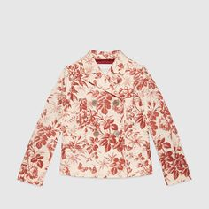 Gucci Children's cerise herbarium cotton jacket with mother of pearl interlocking GG button detail at the back.