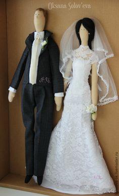 Купить Свадебная пара в стиле Тильда - белый, невеста, свадьба, жених, молодожены, свадебная пара ♡