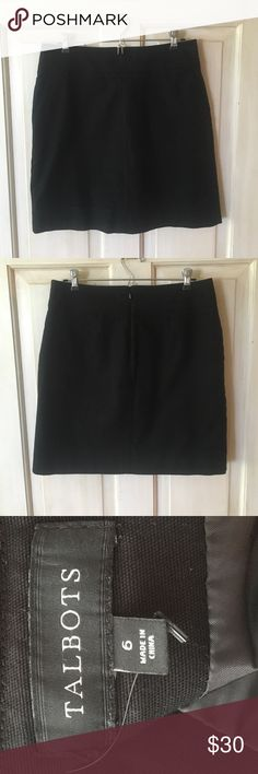 Talbots Black Skirt Talbots black skirt with pockets and zipper in back. Shell: 97% cotton, 3% spandex; Lining: 100% polyester. Machine wash. Talbots Skirts