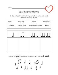 Valentine's Day Music Rhythm Worksheet - Christine Larsen - TeachersPayTeachers.com
