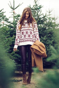 tumblr fashion • teen style • cute clothes • sweater weather • autumn fall • winter outfit • christmas sweater