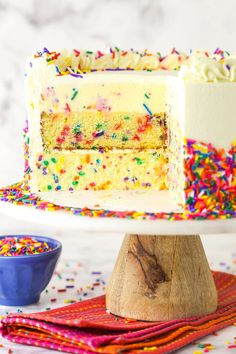 Rich and indulgent, this Funfetti Millionaire Cake features layers of creamy cheesecake, moist cake, fluffy mousse and whipped cream frosting. A truly epic, decadent cake worthy of every second it takes to prepare! Cheesecake Frosting, Cupcake Frosting, Cream Frosting, Cupcake Cakes, Cupcakes, Goody Recipe, Decadent Cakes, Funfetti Cake, Moist Cakes