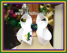 Fleur De Lis Hairbow Hair Bow MEDIUM SIZE - Mardi Gras  - Abbe' Designs