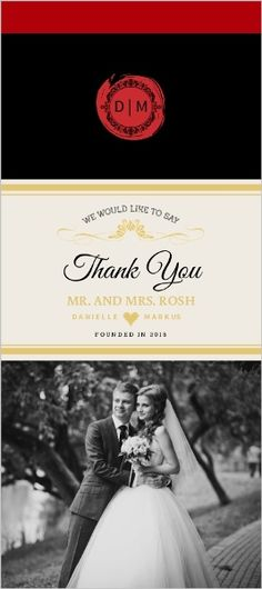 Elegant Wine Bottle Wedding Thank You Card by WeddingPaperie.com. #redwedding #weddingthankyoucards
