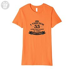 Womens 55th Birthday Funny T shirt 55 years old party gift fitted Medium Orange - Birthday shirts (*Amazon Partner-Link)